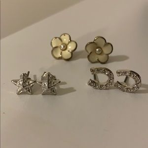 Set of three silver earrings